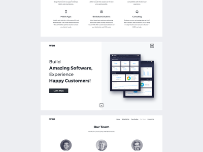 Landing Page ui app ux web interface design application team portfolio promo software digital agency startup technology white space