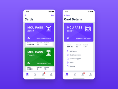 MCU – Cards ui ux mobile iphone application design interface ios app transport underground card subway city mobility transportation travel ticket pass trip