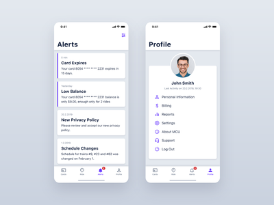 MCU – Alerts and Profile trip pass ticket travel transportation mobility city subway card underground transport app ios interface design application iphone mobile ux ui