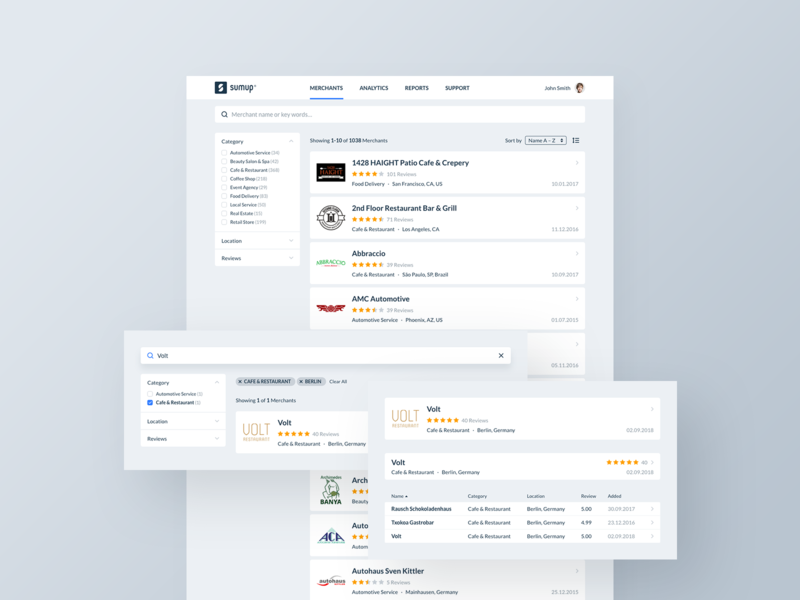 Merchant Search ui ux web interface design management application e-commerce search filter sorting shop shopping retail minimal interaction dashboard
