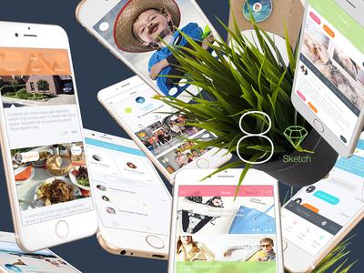 8 for Sketch 3 - Mobile UI Kit Part 4