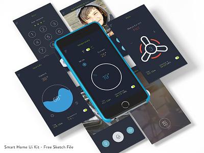 Free Smart Home Ui kit - Sketch File mobile app kit ui home smart