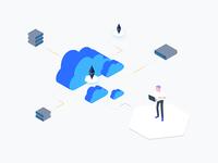Blockchain Cloud Computing Isometric Graphic