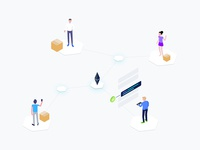 Blockchain Supply Chain Isometric Graphic