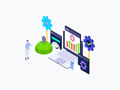 Seo Optimization Isometric Illustration