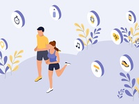Smart Workout Isometric Illustration