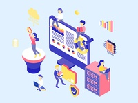 Data Analysis Isometric Illustration