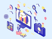 Digital Marketing Isometric Illustration
