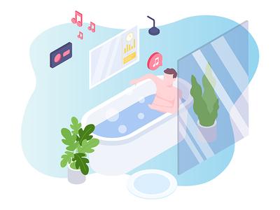 Smartbath for Smart Home Isometric Illustration