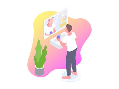 Smartmirror for Smarthome Isometric Illustration
