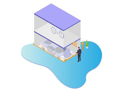Smartparking for Smart Home Isometric Illustration
