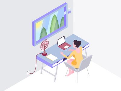 Smart Workspace Isometric Illustration