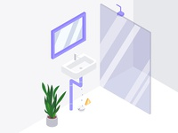 Water Leaks Alarm Isometric Illustration