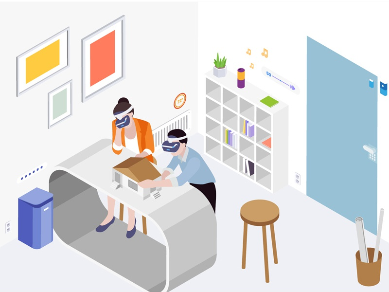 SmartThings Isometric Illustration control voice smartthings smartroom smarthouse smarthome smartdevice remote light isometric illustration heater automatic 3d