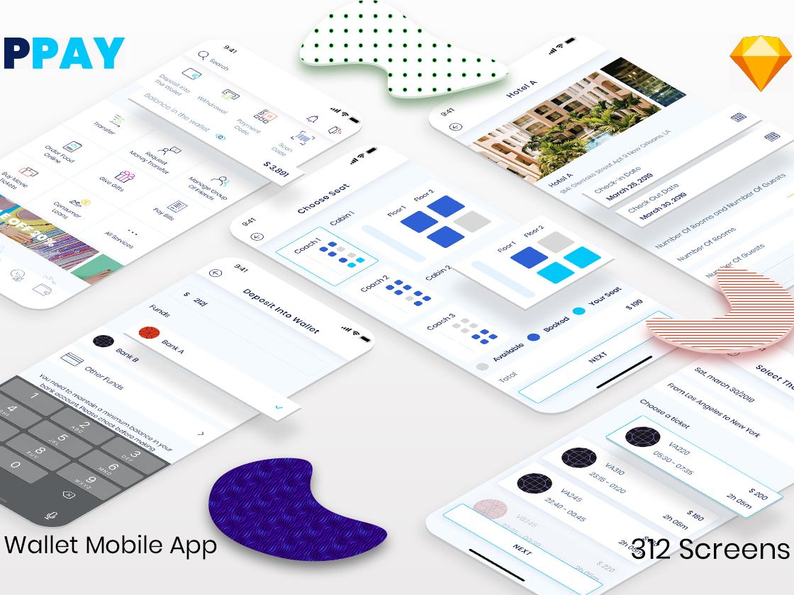 PPAY Wallet Mobile App transaction incentives bill payment transfer bank money finance wallet template modern clean kit ui app