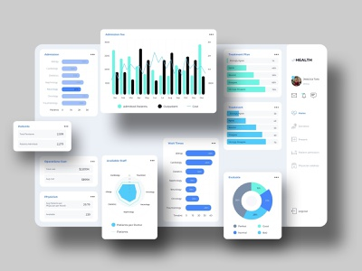 Vheatlh Dashboard UI clean utilities times chart evaluate cost user healthcare check balance dashboard schedule admin ux ui