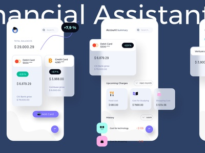 Personal Financial Assistant Light Mobile Ui Kit uikit personal money mobile light financial finance debit credit cost card bank balance assistant