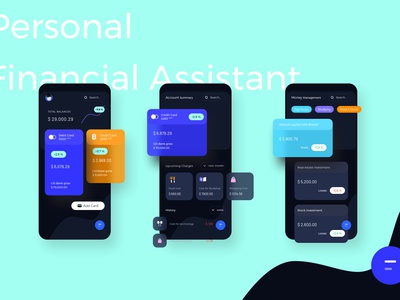 Personal Financial Assistant Dark Mode Mobile Ui kit