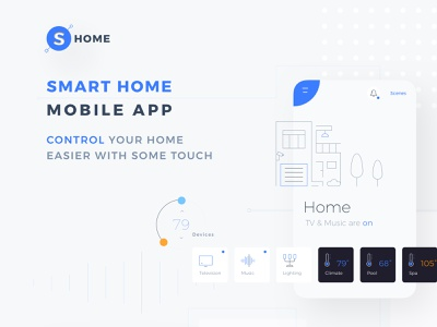 HOME - SMART HOME MOBILE APP ux ui system smarthome setting security mobile layout kit ios interface floor control app alert