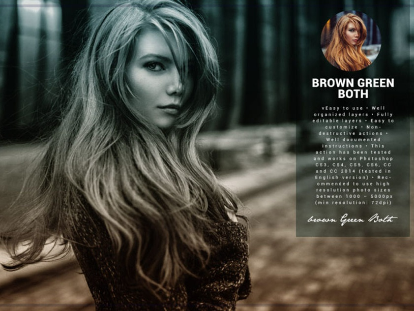Brown Green Both Photoshop Action Free Download by Shirley Steele on