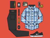 Outfit Grid - Fall Casual I vector illustration grid clothes accessories meg robichaud ryan putnam keys digital pencil behance nike nooka
