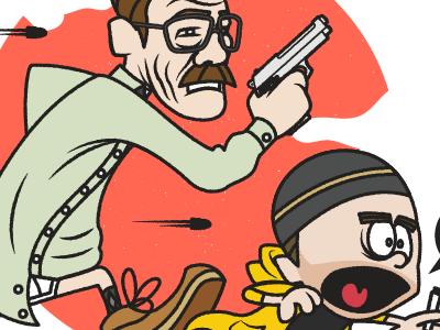 Breaking Watterson vector illustration breaking bad cartoon walter white jesse pinkman gun bullets meth running