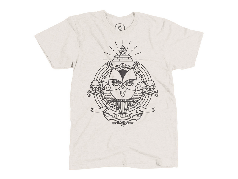 Secret Order vector illustration line art secret society owl skull and bones cotton bureau pyramid masons