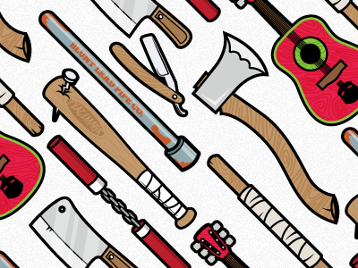 Weapons Pattern illustration weapons pipe nunchucks bat nail cleaver axe wood guitar straight razor bo staff