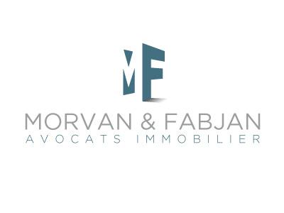 Logo MORVAN & FABJAN Variante 01 logo real estate lawyers blue grey mf cube 3d