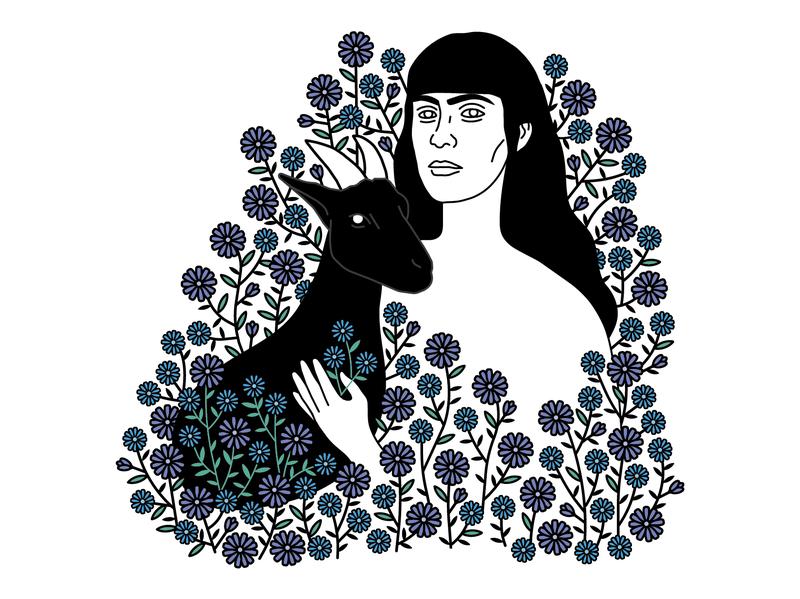 Sarah plants goat portrait simple illustration flower