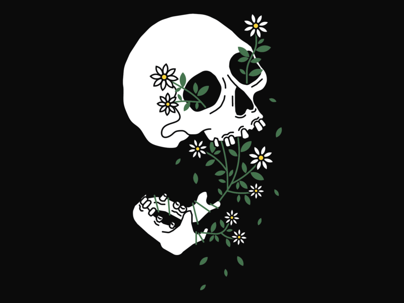 Growing Pains flower vector skull plants simple illustration