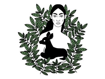 Mother animal deer vector plants simple illustration flower