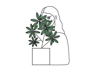 A Secret portrait vector plants simple illustration flower