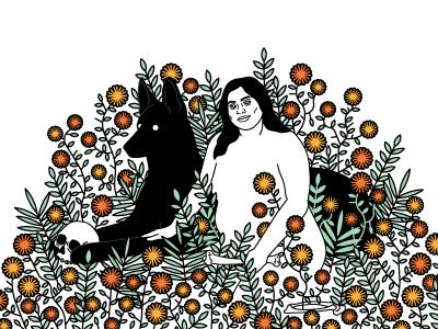Mikaela dog wolf animal skull portrait vector plants simple illustration flower