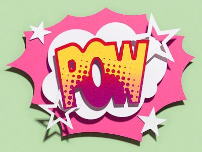 Power of the colors. POW illustration paperart comic vivid colors vivid colorful color collageart collage handmade handcraft illustration design paper craft illustation papercut paper illustration paper art cutout