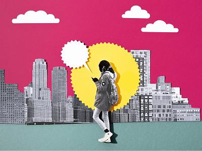 Collage illustration mixed media color vivid city illustration design paper craft handcraft papercut illustation paper illustration collage art collage paper art cutout