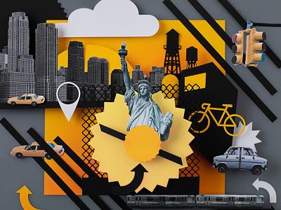 New York Paper art and collage handmade illustration design handcraft papercut illustation cutout paper illustration collageart new york paper art collage