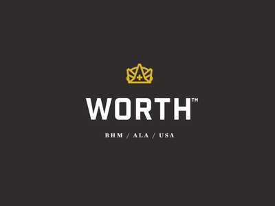 Worth™ woodworking birmingham alabama usa logo mark lockup crown christian