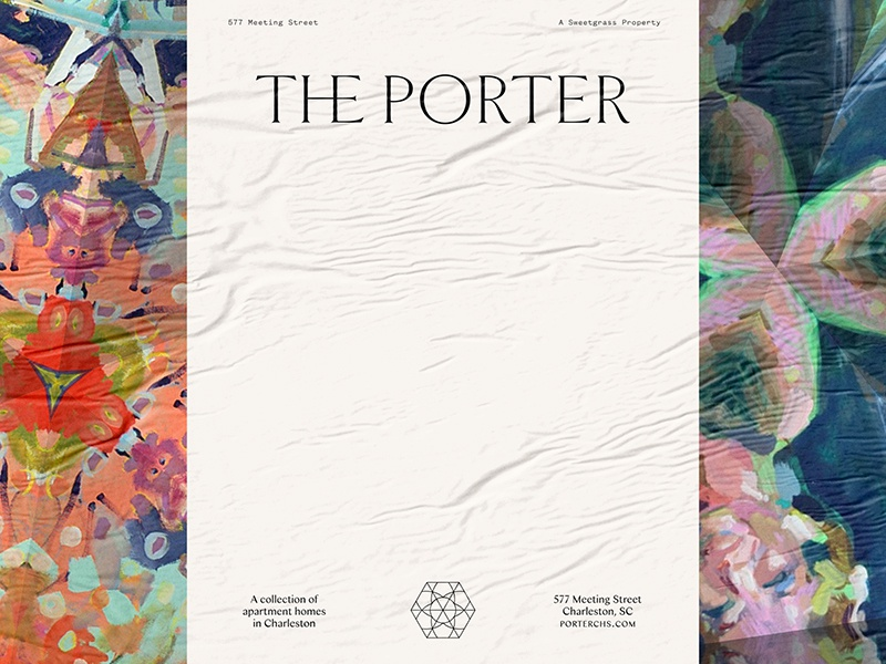 """The Porter"" kaleidoscope logotype mark branding identity apartments real estate birmingham south carolina charleston"