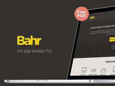 Bahr one page template psd  bahr one page theme template freebie free