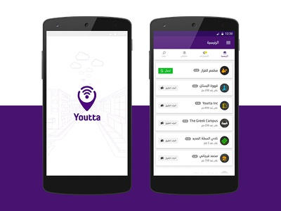 Youtta App places location app mobile splash cards ux ui design material internet youtta