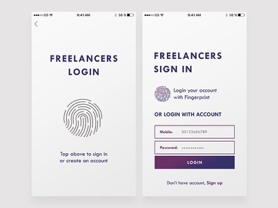 Freely Login mobile app mobile app screen freelancer freelance signin login