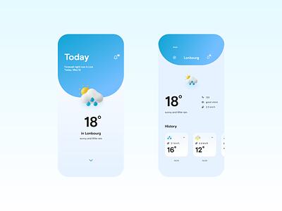 Weather App | Vimea Style app clear space ui weather forecast rebound ux design ui design mobile app design mobile app minimalistic weather weather app