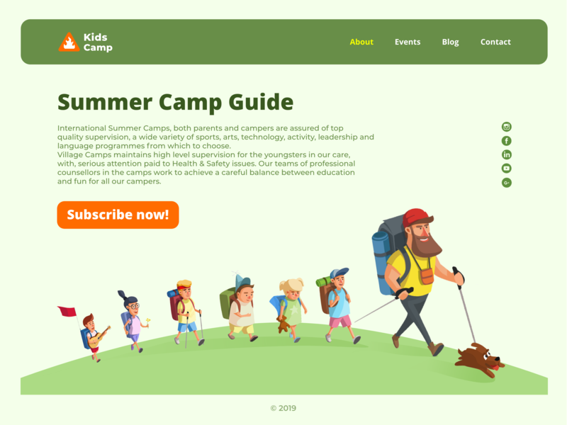 KidsCamp_concept photoshop logo icon minimal ux  ui ui fun children outdoor camp hiking kids art website flat character web illustration design