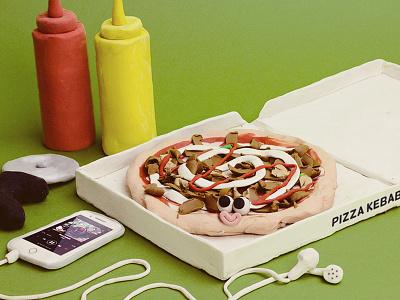 PIZZA KEBAB spicy ketchup mayonese ghali kebab pizzakebab pizza sculpting modelling clay plasticine