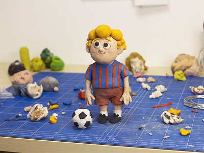 WIP p football kids characterdesign character sculpting modelling clay plasticine