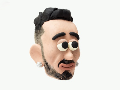 MARRACASH swag rap italian rapper caricature characterdesign character faces clay sculpiting modelling plasticine