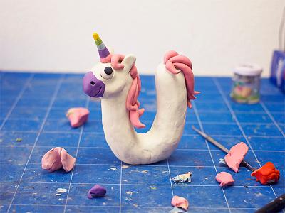 U as Unicorn  unicorn lettering type u sculpting modelling clay plasticine