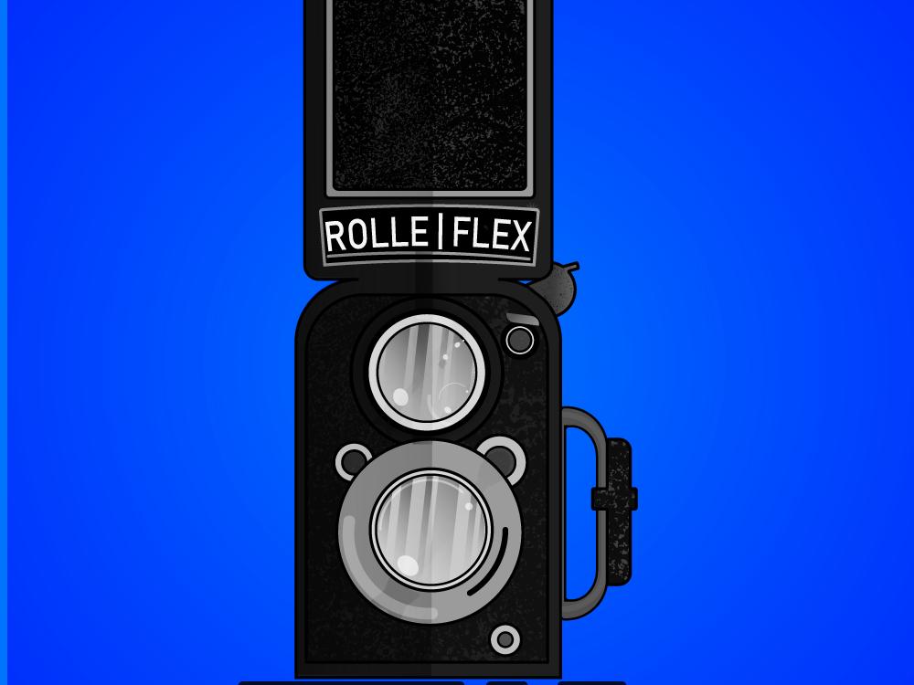 Rolleflex Camera photography lens lenses illustrator illustration vintage throwback oldschool film cameras camera