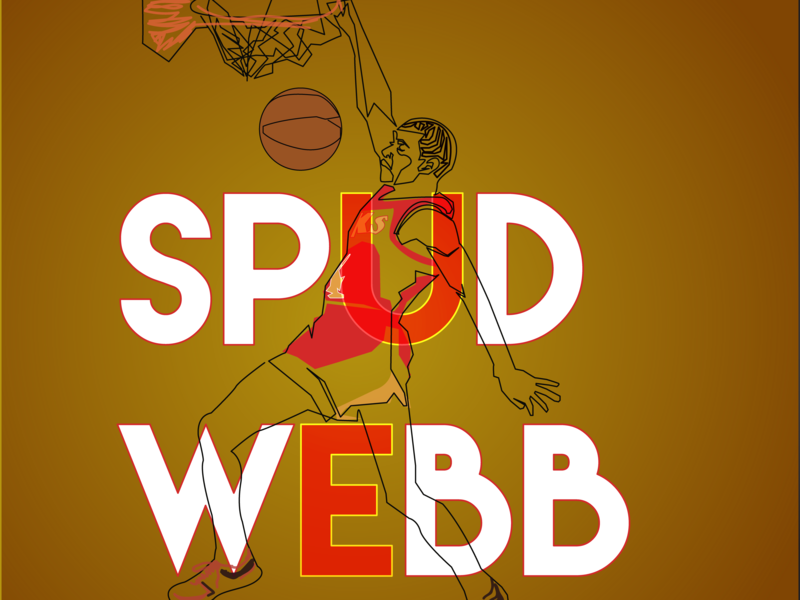 Spud Web One-line illustration spud dunking dunk slam basketball slam dunk dunk contest slamdunk nba atlanta hawks spud webb 1line illustration oneline